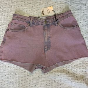 Washed Purple high rise denim shorts from Tinsel